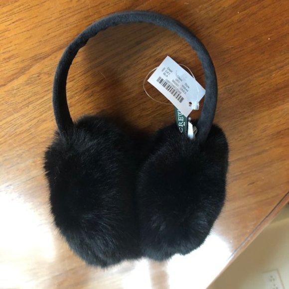 J Crew Faux Fur Ear Muffs in Black, NWT (H3644)